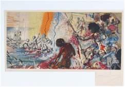 Salvador Dali Surreal Seascape Lithograph SIGNED Art