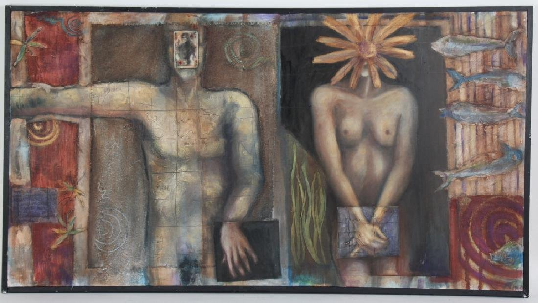Modern Figural Nude Surreal Art Latin Painting MYSTERY
