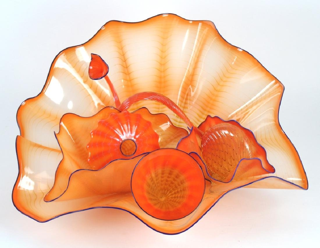 DALE CHIHULY American 6 pc Orange Art Glass Persian Set