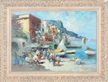 Amedeo Sica Italian Costal Art Seascape Oil Painting