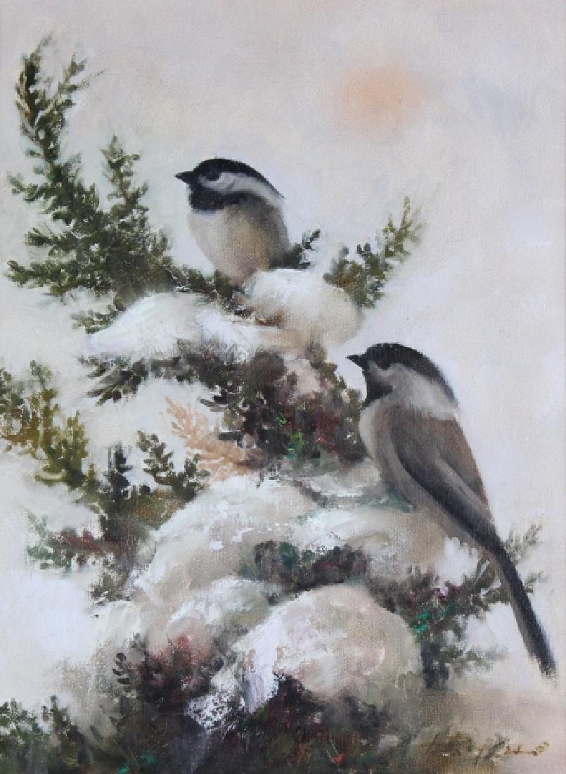 Howard Rogers American Art Winter Snow Birds Painting - 2