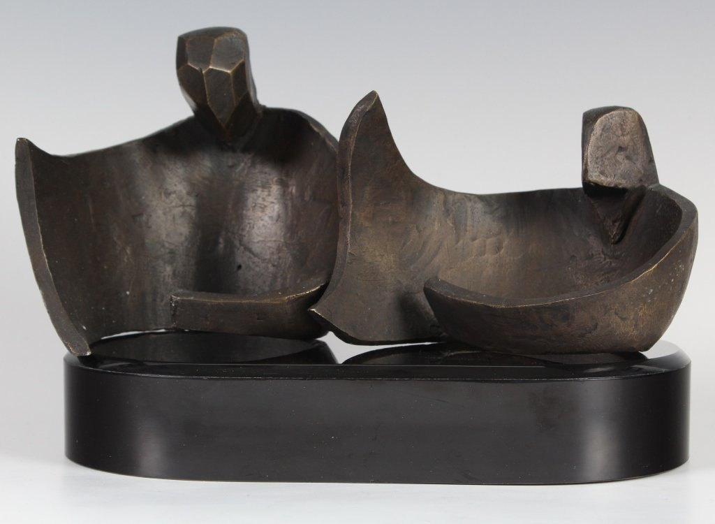 Figural Bronze Sculpture After Henry Moore MYSTERY ART - 2