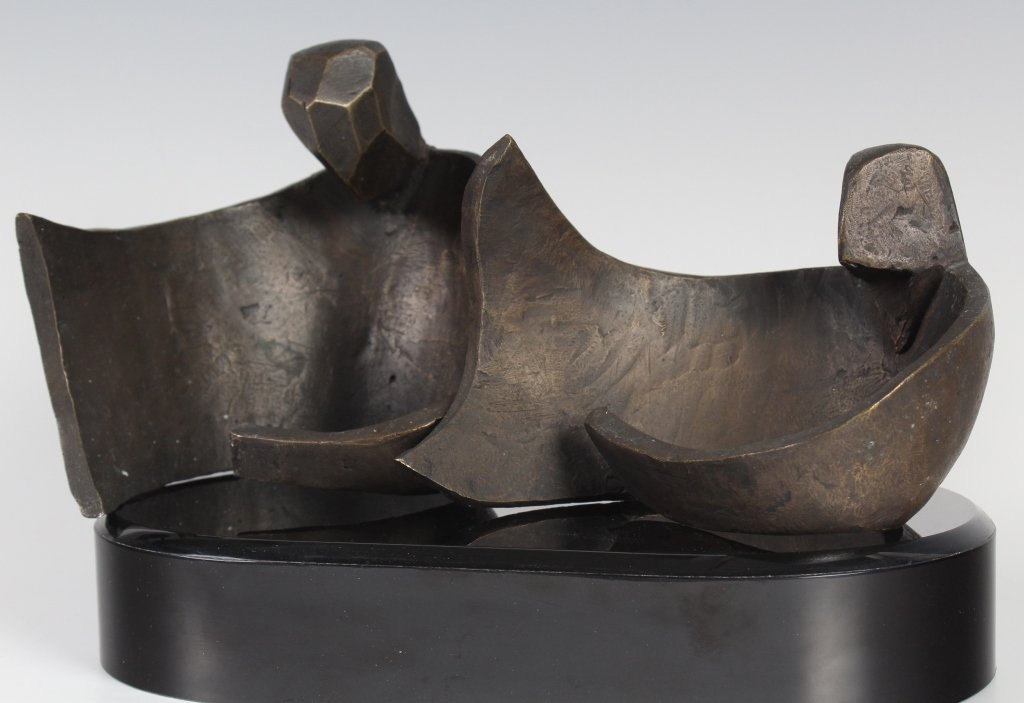 Figural Bronze Sculpture After Henry Moore MYSTERY ART - 3