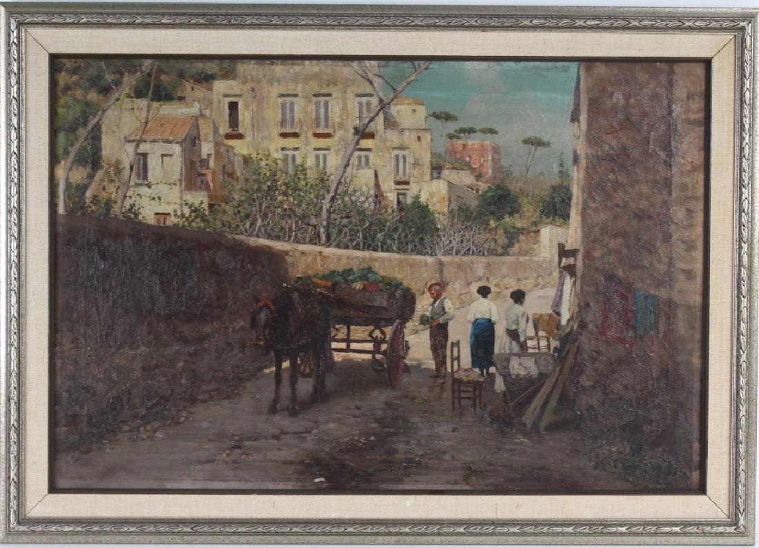 Fine Antique Street Scene Oil Painting MYSTERY ART