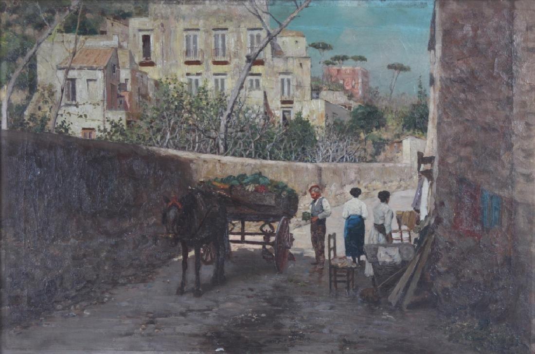Fine Antique Street Scene Oil Painting MYSTERY ART - 2