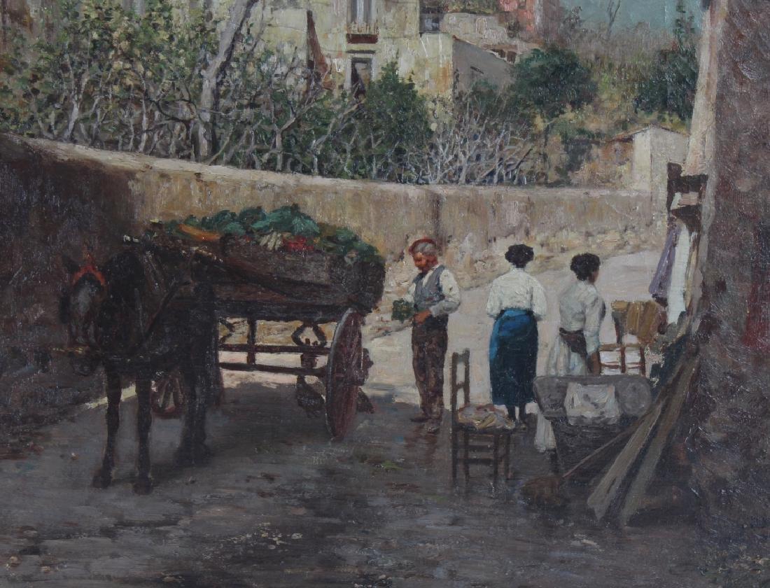 Fine Antique Street Scene Oil Painting MYSTERY ART - 3