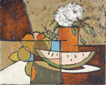 Cubist Art Fruit Floral Still Life Oil Painting SIGNED