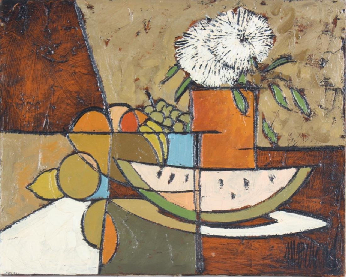 Cubist Art Fruit Floral Still Life Oil Painting SIGNED