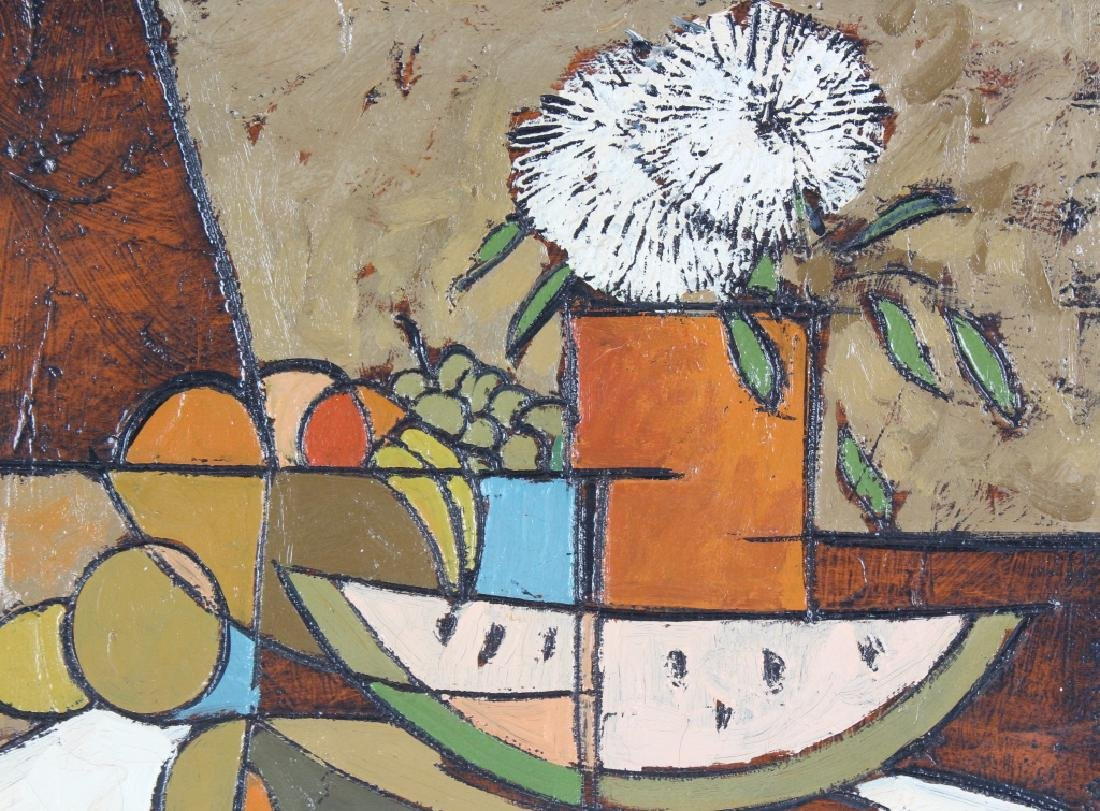 Cubist Art Fruit Floral Still Life Oil Painting SIGNED - 2