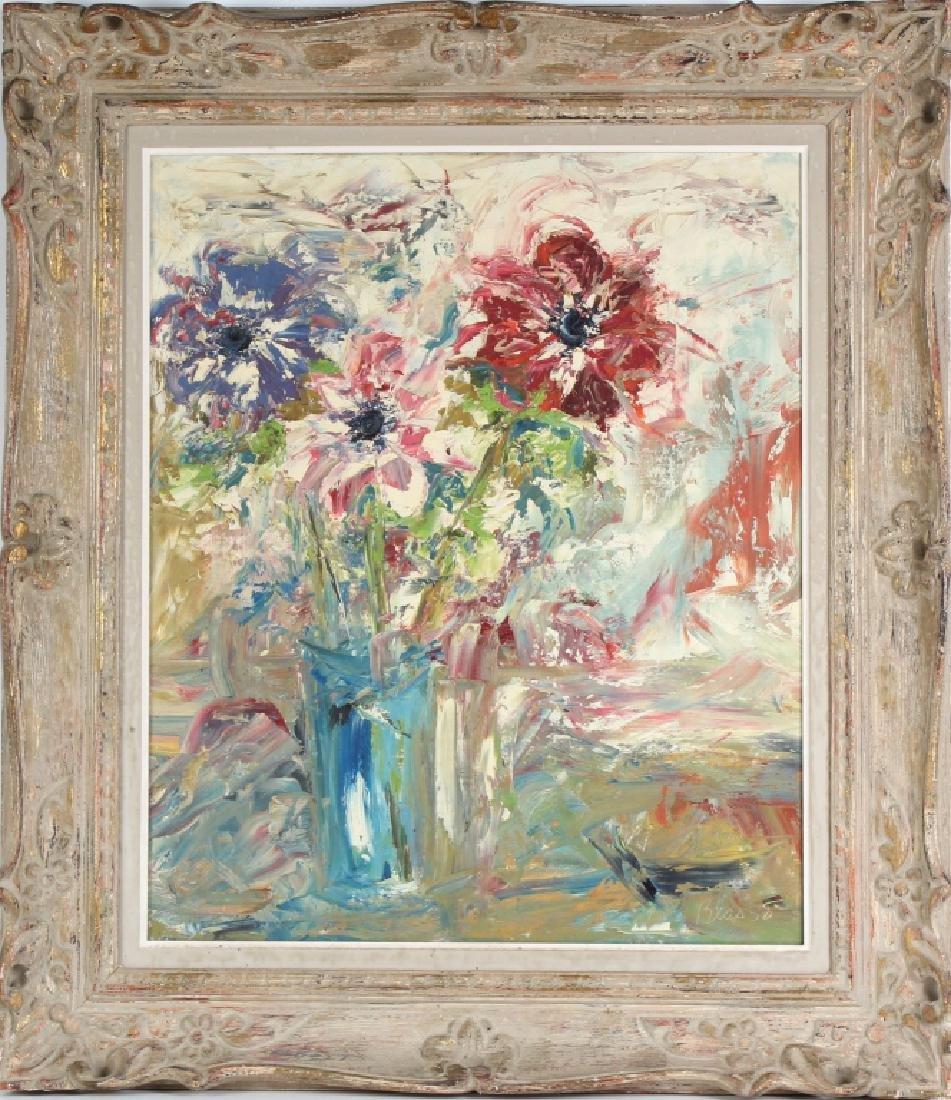 Ed Blas Still Life Flowers Original Art Oil Painting