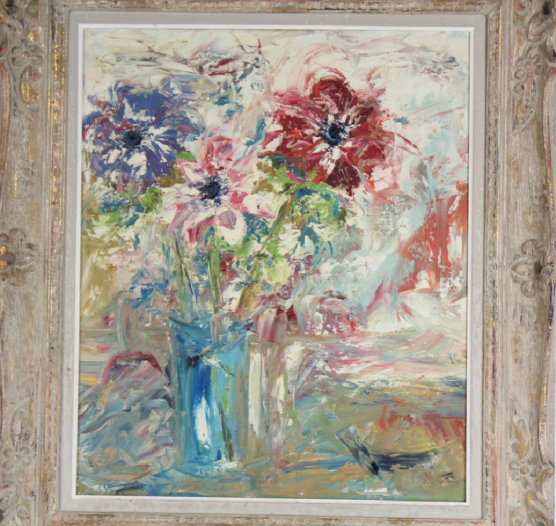 Ed Blas Still Life Flowers Original Art Oil Painting - 2