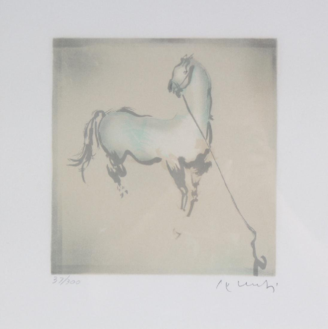 Mystery Artist LE Horse Framed Lithograph SIGNED ART