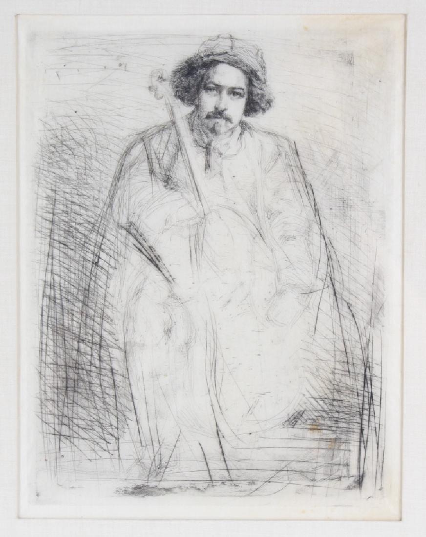 Whistler 1834-1903 Musician & Cello Print Etching Art