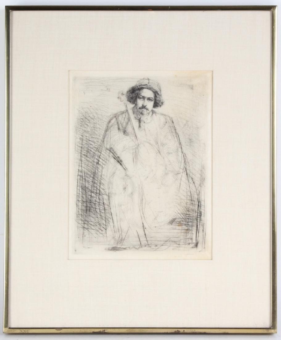 Whistler 1834-1903 Musician & Cello Print Etching Art - 2
