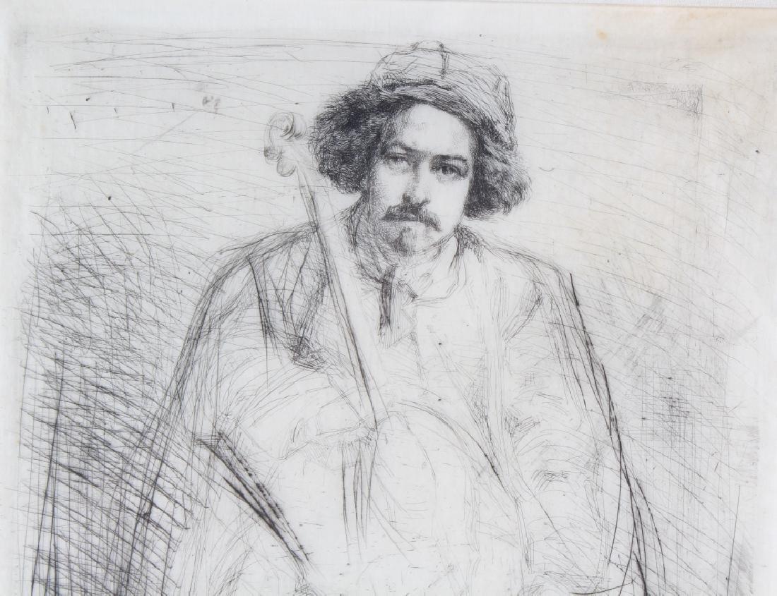 Whistler 1834-1903 Musician & Cello Print Etching Art - 3