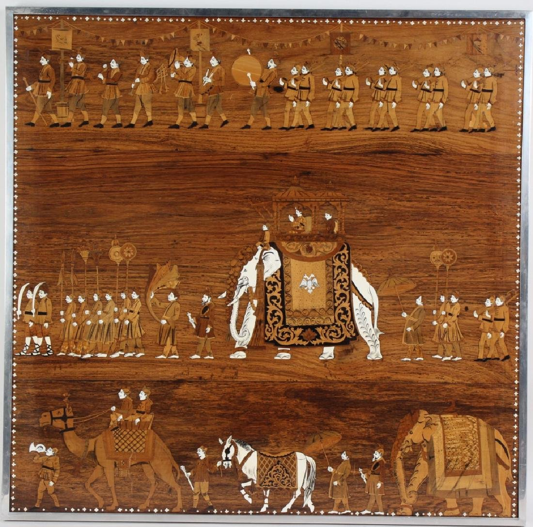 Indian Wood Inlay Elephant & Royals Wall Art Panel