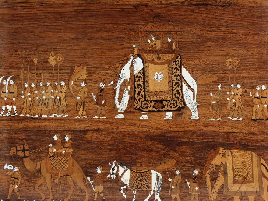 Indian Wood Inlay Elephant & Royals Wall Art Panel - 2