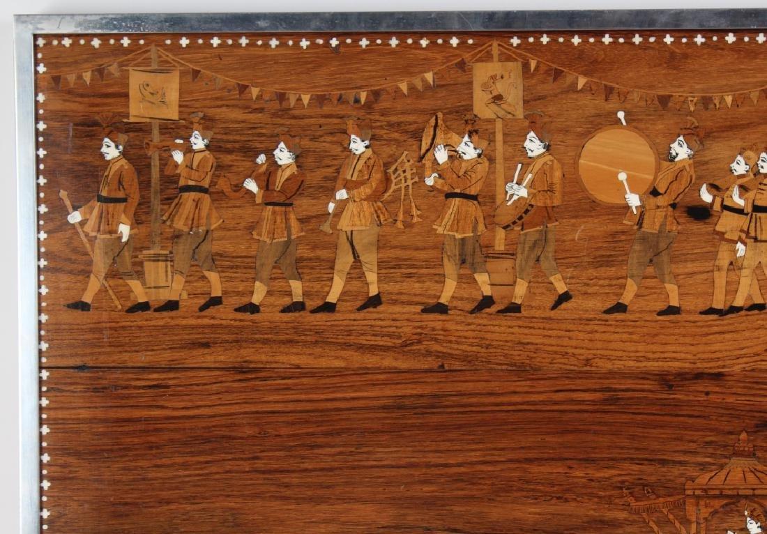 Indian Wood Inlay Elephant & Royals Wall Art Panel - 3