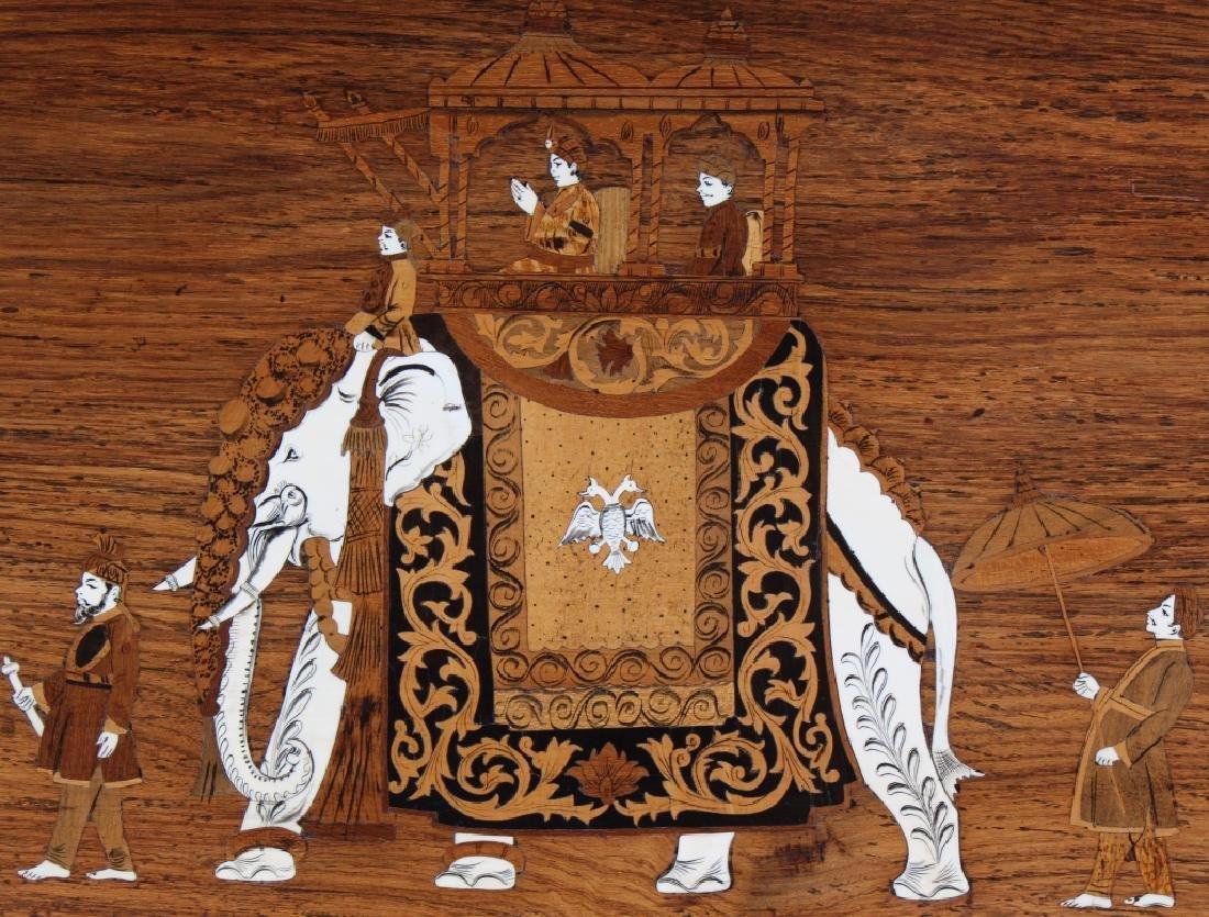 Indian Wood Inlay Elephant & Royals Wall Art Panel - 4