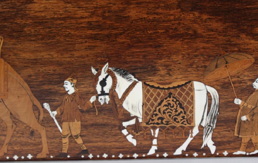 Indian Wood Inlay Elephant & Royals Wall Art Panel - 5