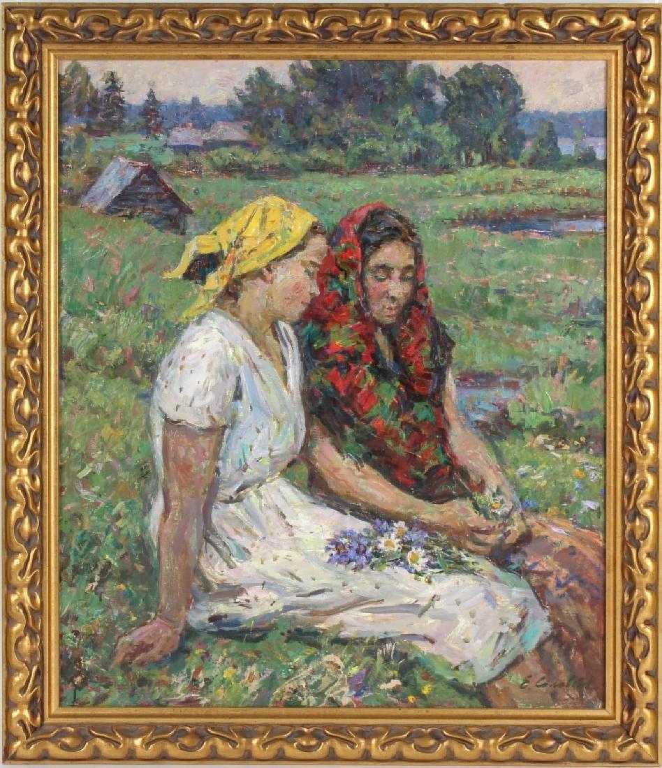 Russian Impressionist Figural Art Landscape Painting