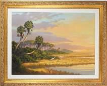 Florida Marsh Highwaymen Style Landscape Art Painting