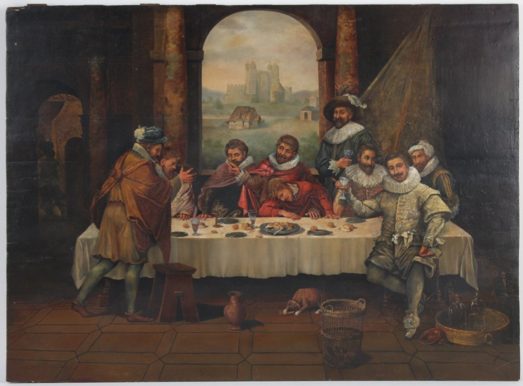 Antique Dutch Figural Interior Scene Oil Art Painting