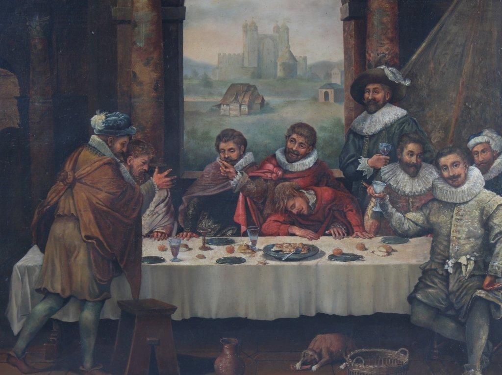 Antique Dutch Figural Interior Scene Oil Art Painting - 2