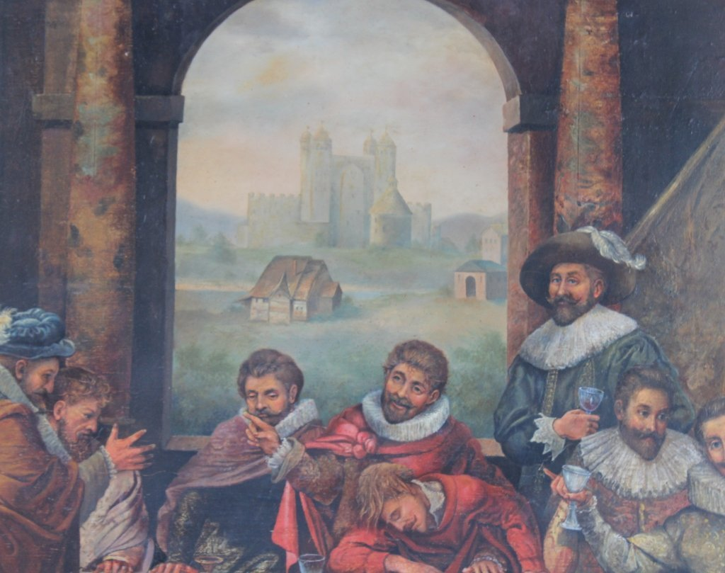 Antique Dutch Figural Interior Scene Oil Art Painting - 3