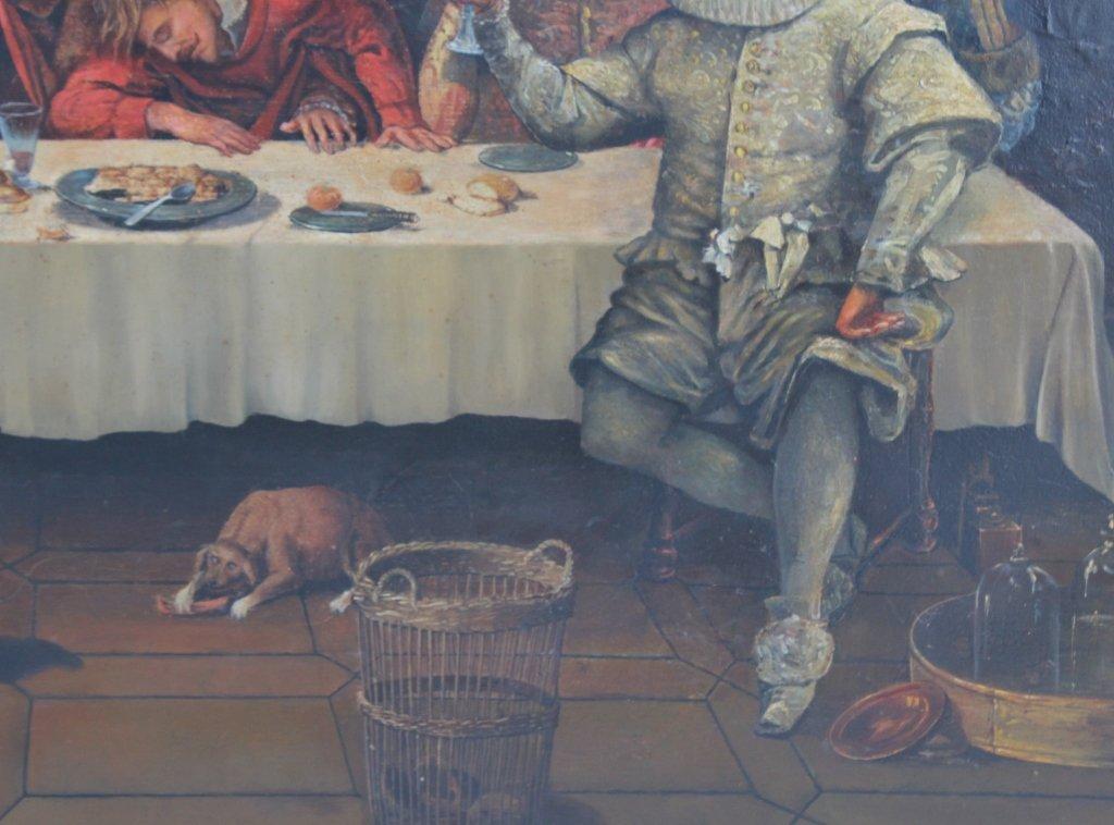 Antique Dutch Figural Interior Scene Oil Art Painting - 4