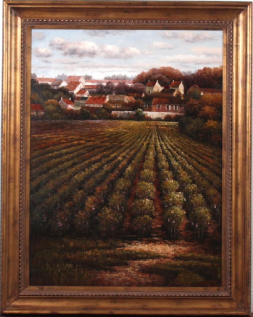 Signed K Paul Country Farm Landscape Art Oil Painting