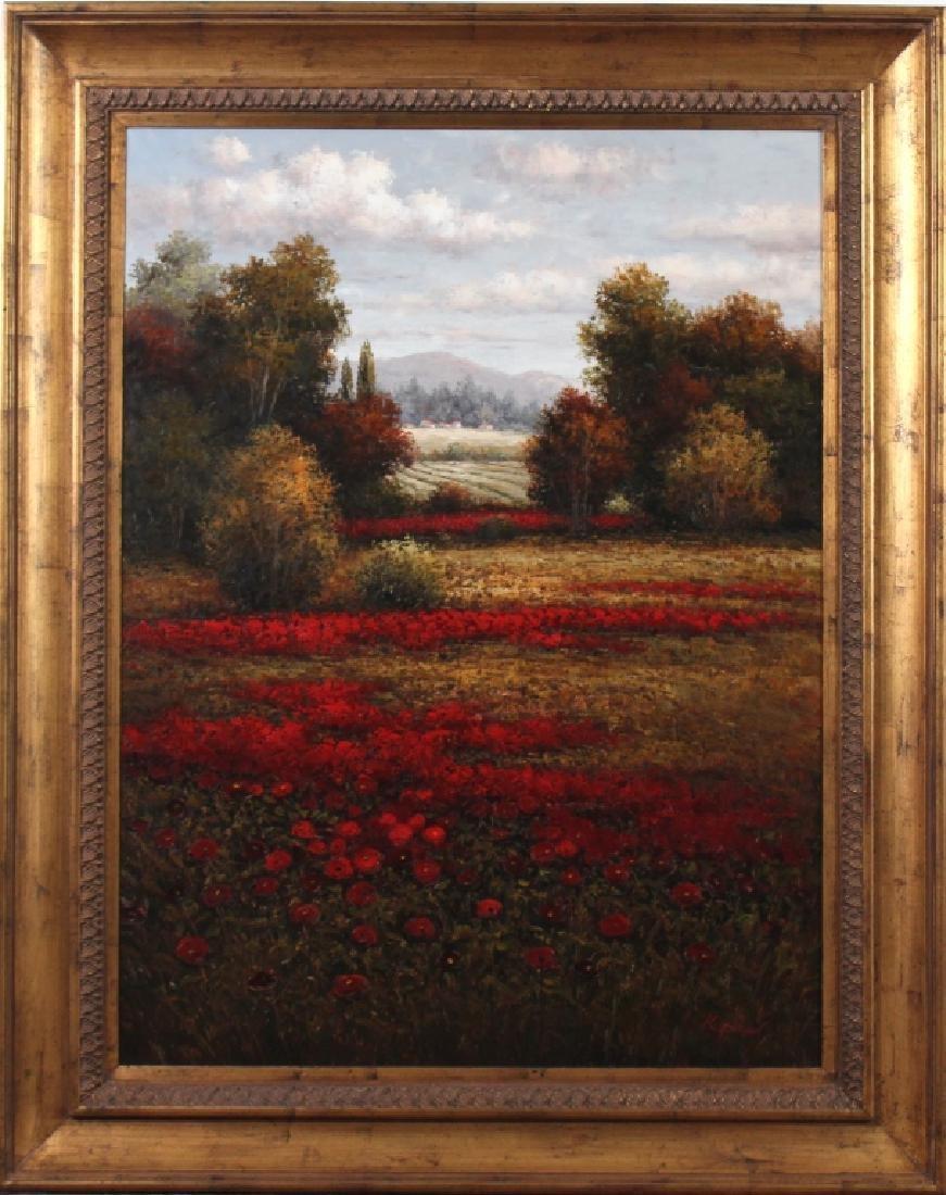 Signed K Paul American Floral Art Landscape Painting