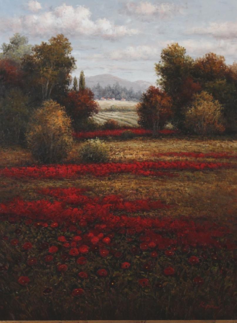 Signed K Paul American Floral Art Landscape Painting - 2
