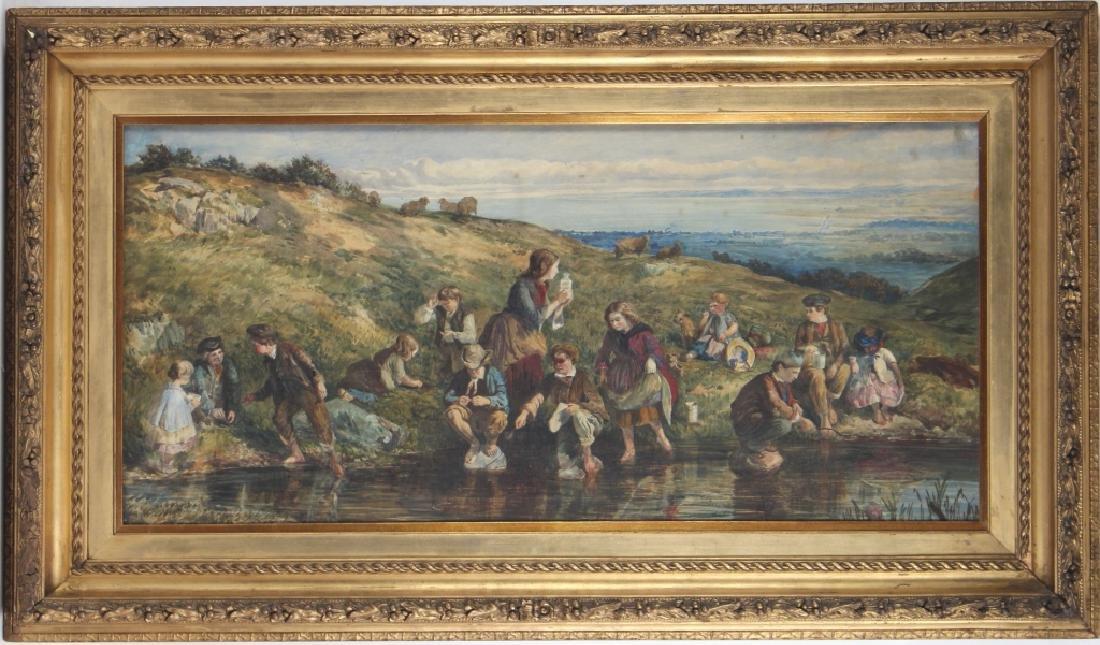 Antique 19th Century Figural Art Landscape Painting