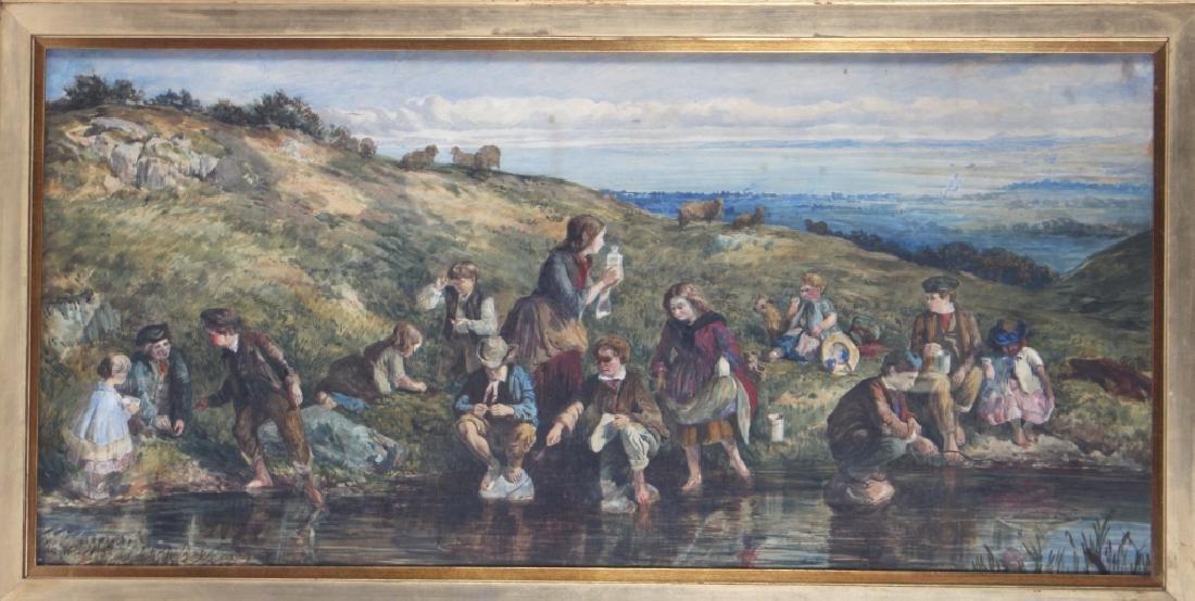 Antique 19th Century Figural Art Landscape Painting - 2