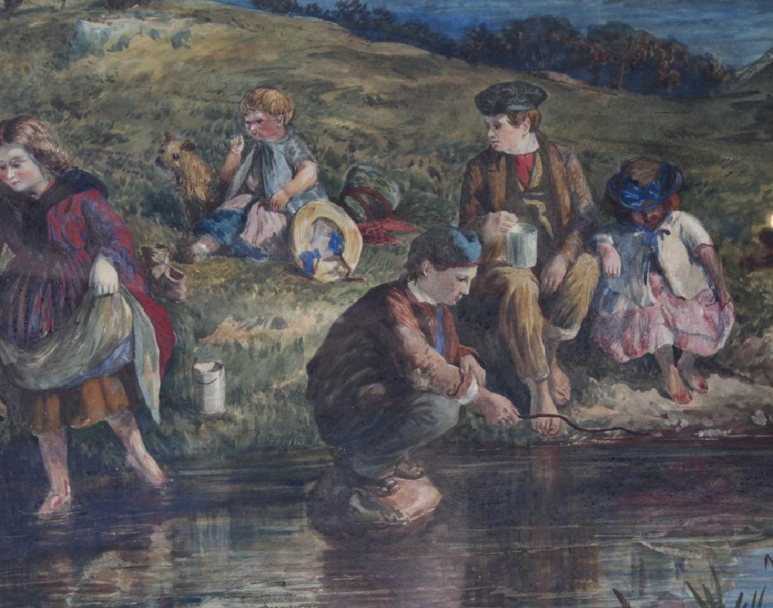 Antique 19th Century Figural Art Landscape Painting - 3