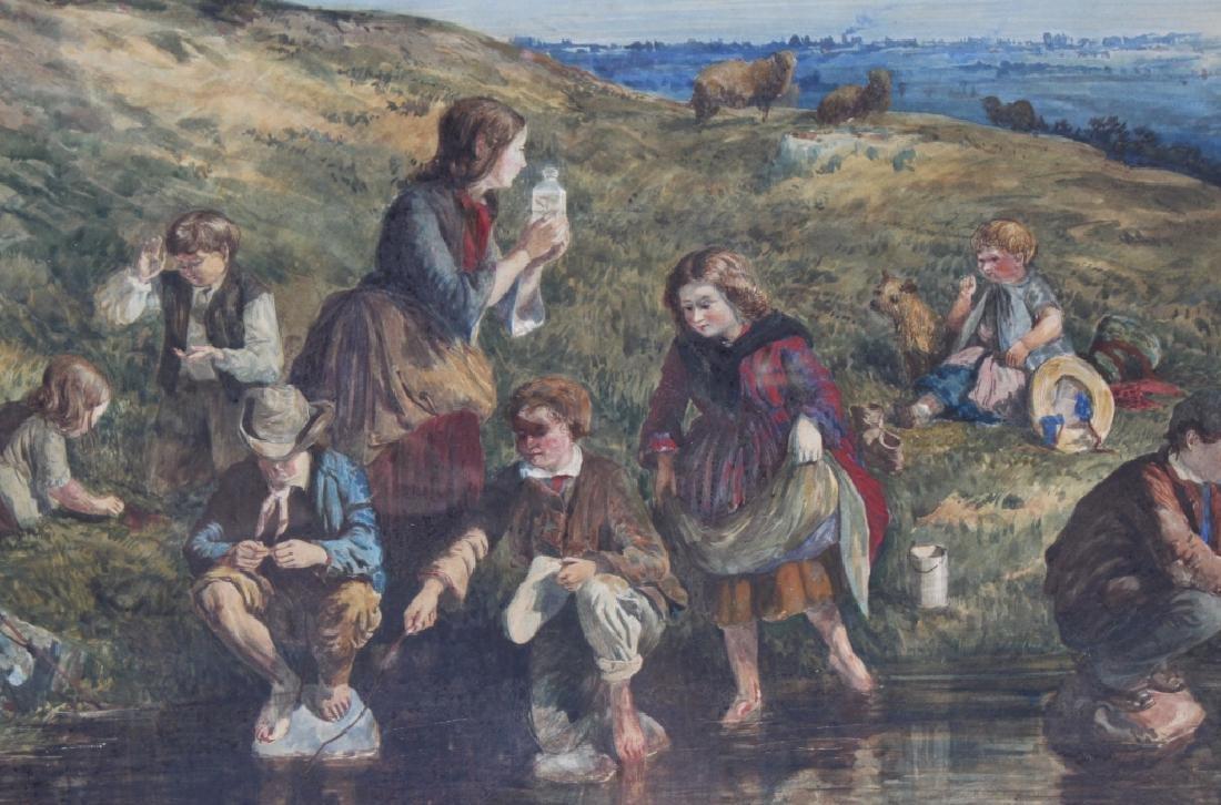 Antique 19th Century Figural Art Landscape Painting - 4