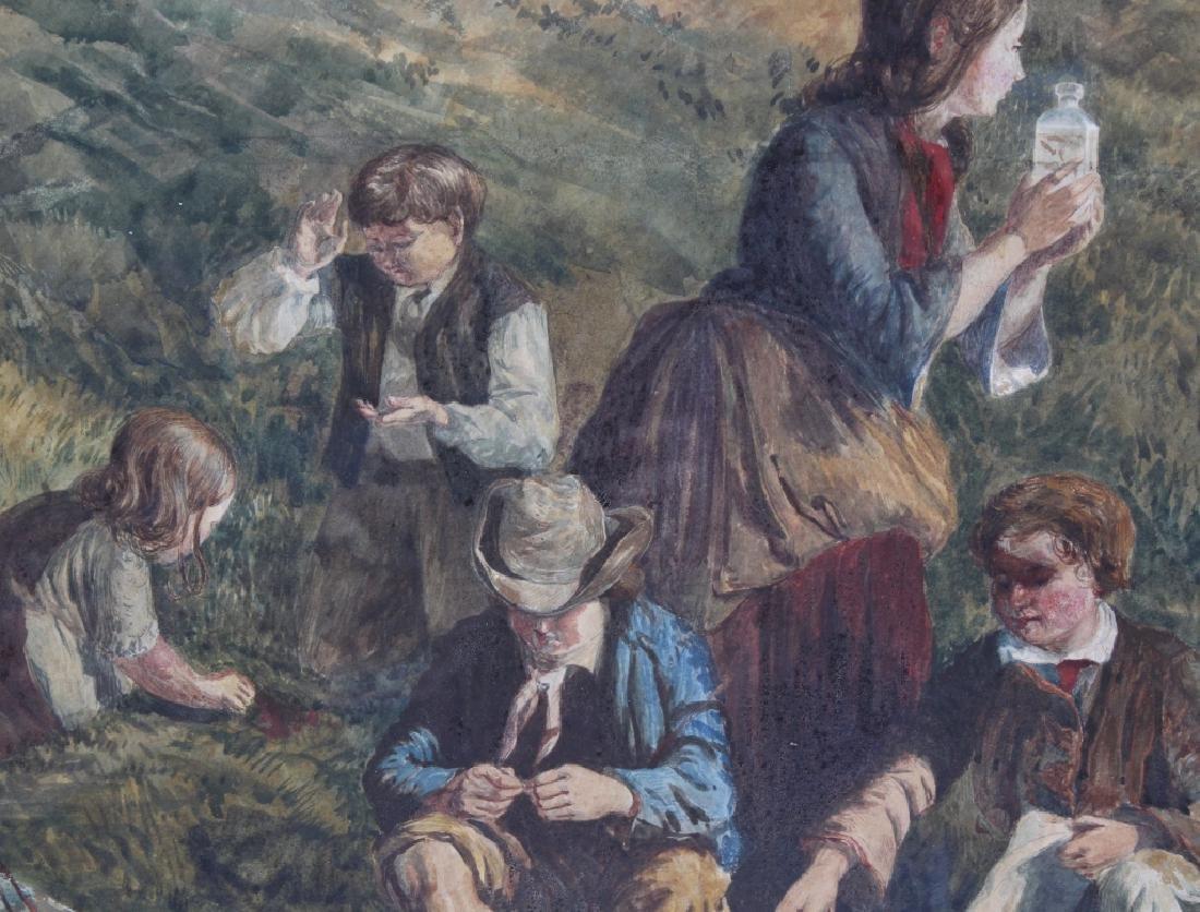 Antique 19th Century Figural Art Landscape Painting - 5