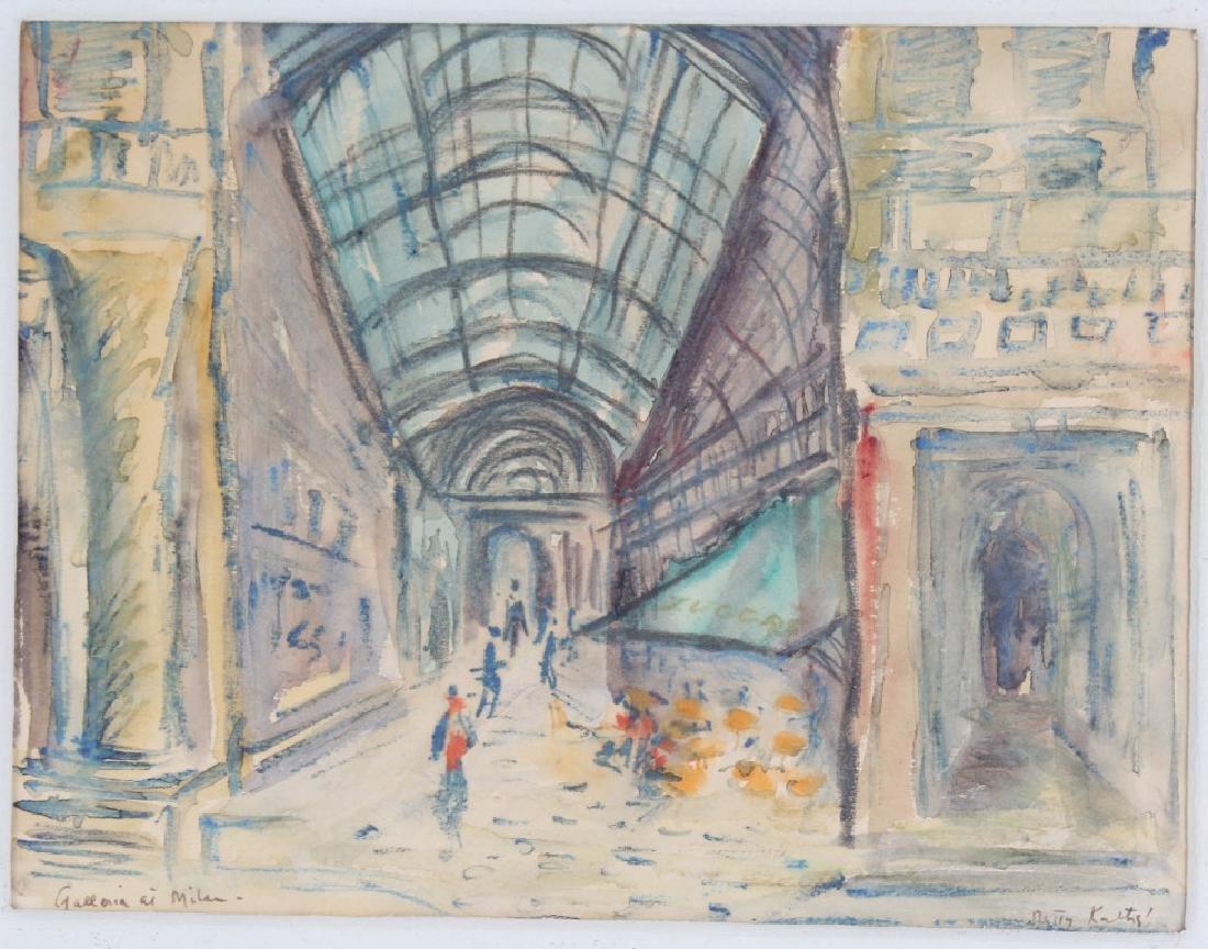 BETTY KATHE American Watercolor Art of Milan Painting