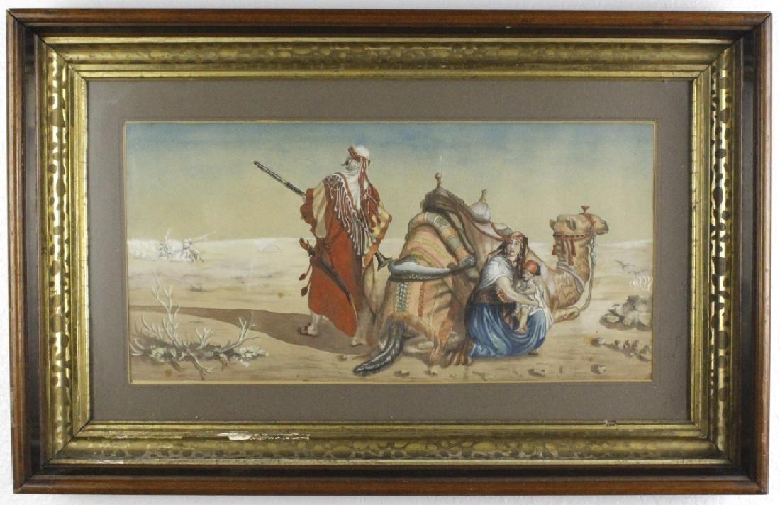 Antique Orientalist Landscape Art Watercolor Painting