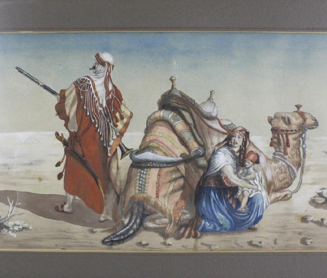 Antique Orientalist Landscape Art Watercolor Painting - 2