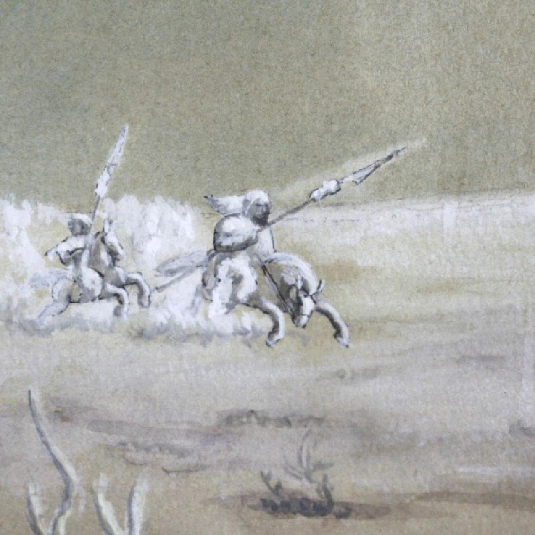 Antique Orientalist Landscape Art Watercolor Painting - 4