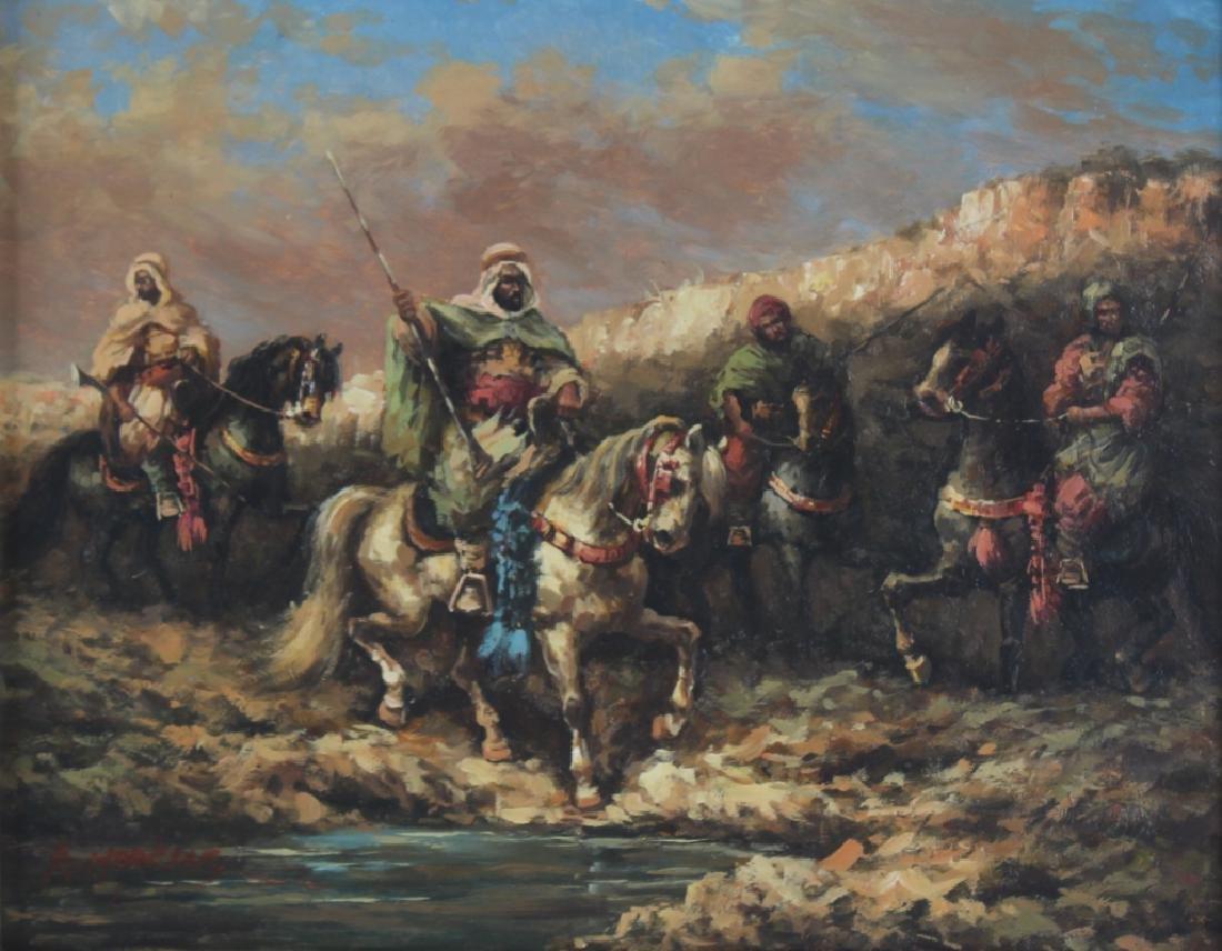"Hopkins Orientalist Art ""Arabian Knights"" Oil Painting"