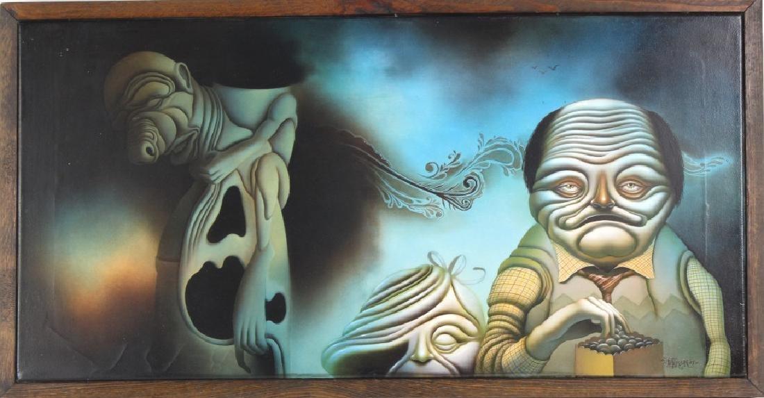 American Surrealist Figural Art Landscape Oil Painting