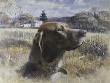 Robert Abbett American Dog Portrait Oil Painting
