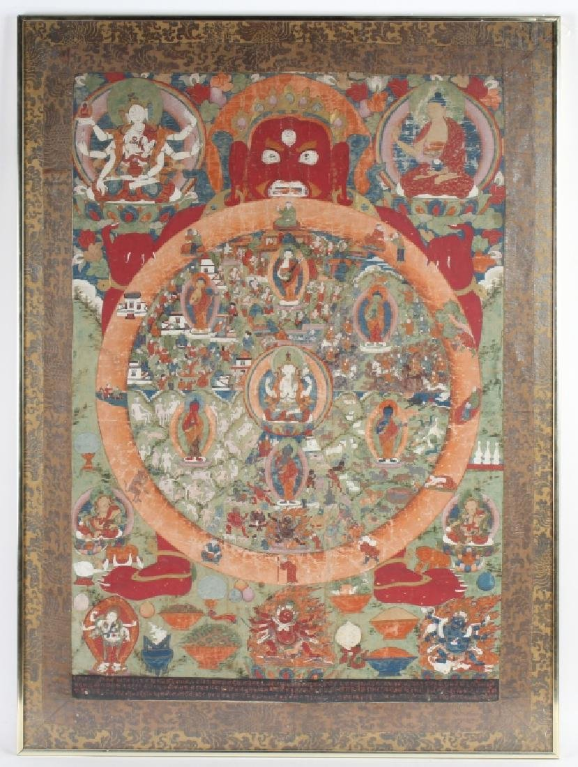 """Antique Indian Mughal Art Painting On Silk 41""""x30"""""""