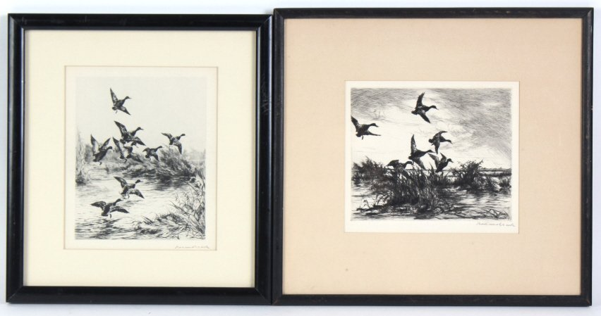 Roland Clark American, 2 Duck Hunt Etchings SIGNED
