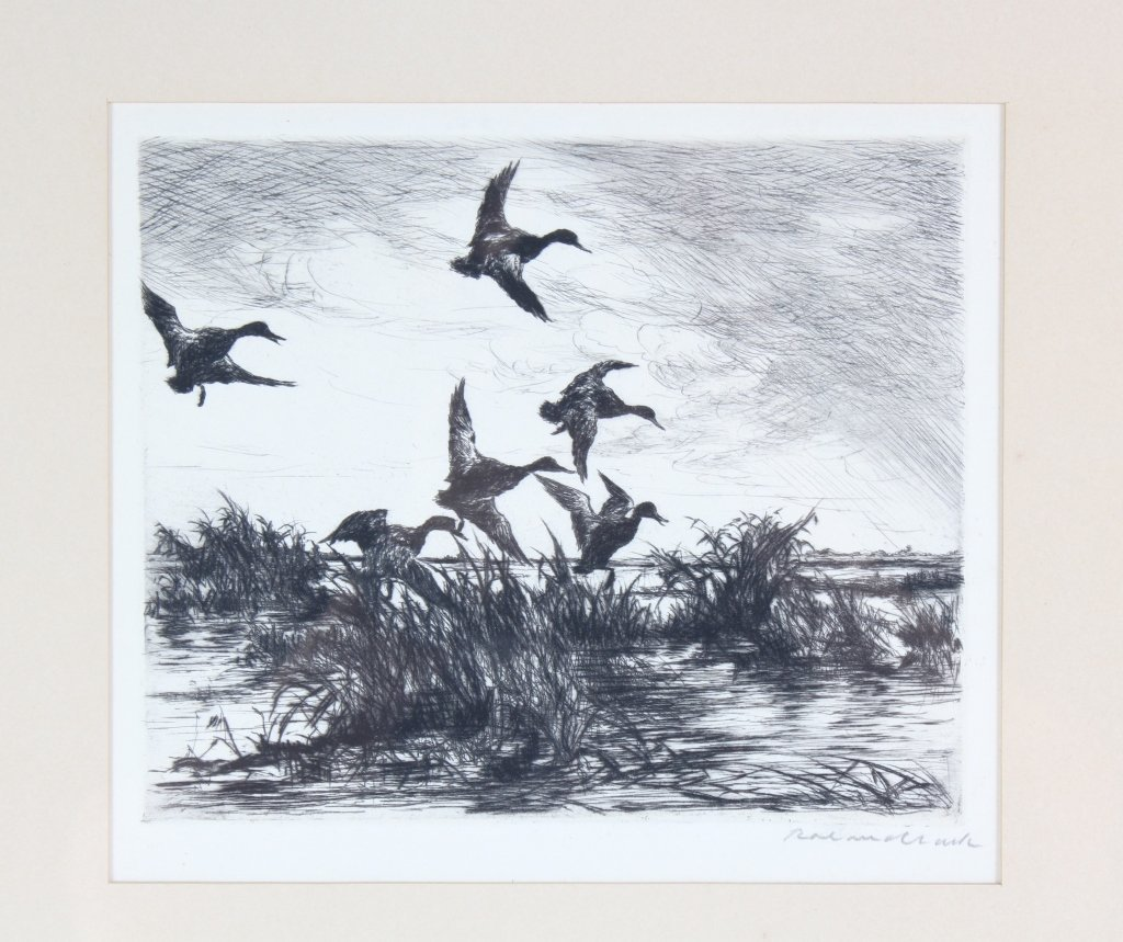 Roland Clark American, 2 Duck Hunt Etchings SIGNED - 2
