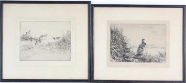 Roland Clark American Bird Hunting Etching SIGNED