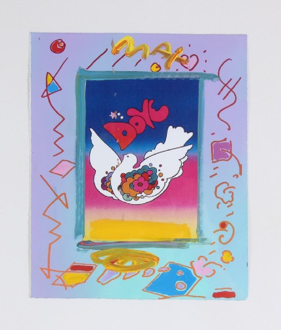 Peter Max b.1937 American Acrylic Dove Art Collage